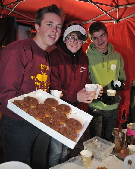 Yeo Moor Explorer Scouts Benedict, Charlie and Tom doing hot chocolates and doughnuts to raise funds