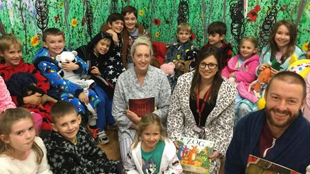 Pupils attending the bed time story event at Yeo Moor Primary School.