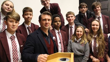 Owen Sheers meets students at St Katherine's School in Pill.