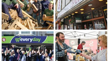 From left to right clockwise: Somerset Wood Recycling, The Playhouse Theatre, Orchard News and Eat W