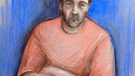 File court artist sketch by Elizabeth Cook of Darren Osborne, who is accused of carrying out the Fin