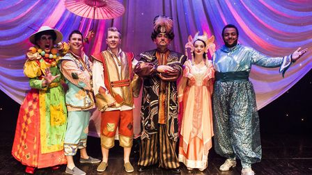 The cast at the launch, including John Altman, who is playing Abanazar.