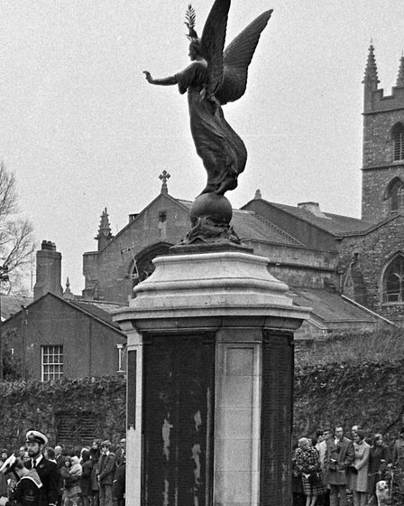War memorial with olive branch in 1974 or 1975.