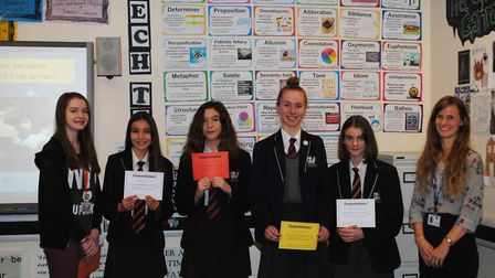 The winning students of Gordano School's poetry competition, plus runner-ups.