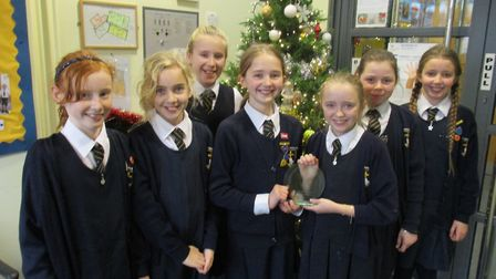 St Joseph's Primary School pupils with the trophy.