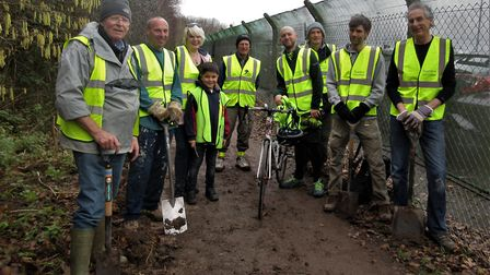 Volunteers clearing the Sheepway cycle path.