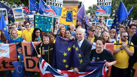 Sir Vince Cable with Liberal Democrats campaigners fighting for an 'Exit from Brexit'. Photograph: L
