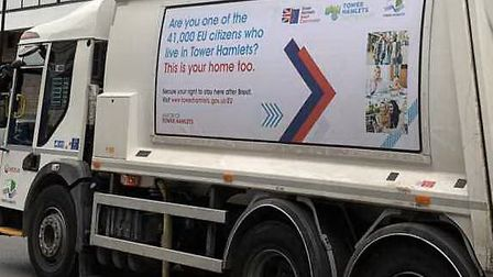 The bin lorry in Tower Hamlets telling EU citizens 'this is your home too' Pic: @Milo_Edwards