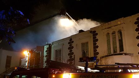 The Lynton House Hotel in flames.