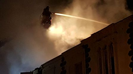 The fire taking hold of the Lynton House Hotel. Photo taken by Richard Heiron.