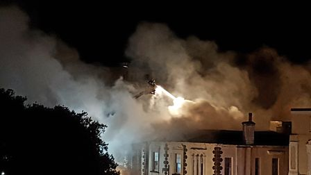 Several fire engines attended the blaze at Lynton House Hotel. Picture: Aideen Higgins