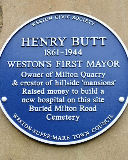 The second blue plaque for the first Mayor of Weston, Henry Butt. Picture: Eleanor Young