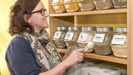 Holly Law with her stock to help people reduce waste.