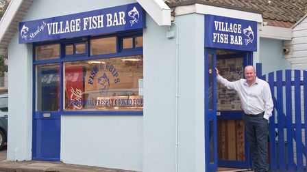 Owner Paul White at Stanley's Village Fish Bar, Banwell.