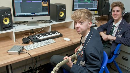 Gordano School students creating music with the new equipment.