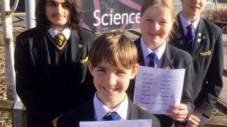 Clevedon School's code-breaking team.