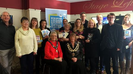 Authors and councillors at the literary festival launch.