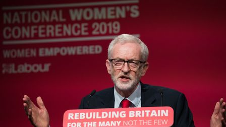 Labour Leader Jeremy Corbyn during a speech at Labour Women's Conference in the Telford Internationa