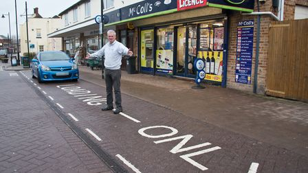 Joe Fordham outside his shop where loading bay is. Wants extra parking spaces to help footfall.