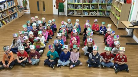 Reception pupils celebrating 100 days of school.