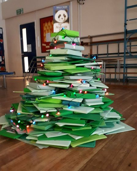 The book tree built by pupils.