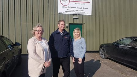 Andy and Cori Taylor with bookkeeper Tina Brooker. Picture: Eleanor Young
