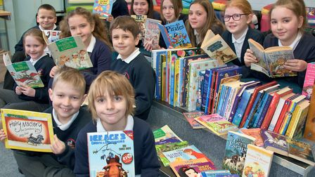 Books for Schools handover. Hannah More Infants and Grove Junior School, Nailsea.