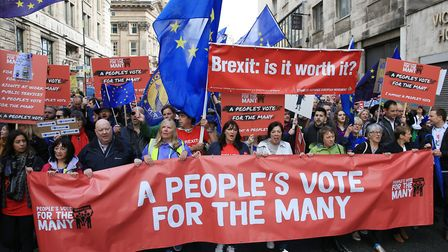 Labour members march for a People's Vote outside the party's conference in Liverpool. Photograph: Pe
