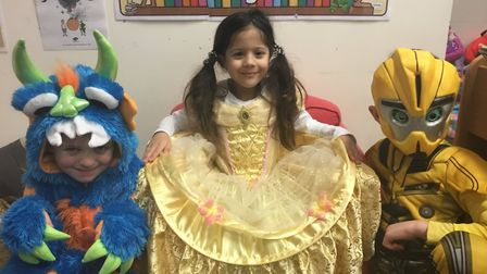 Children dressed as their favourite characters for World Book Day at Trinity Primary School in Porti