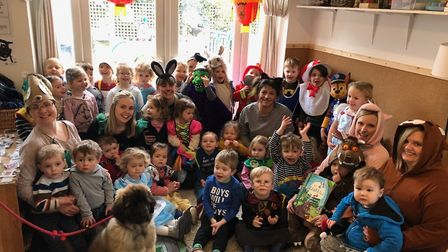 Children from Lakehouse Nursery in Portishead celebrating World Book Day.