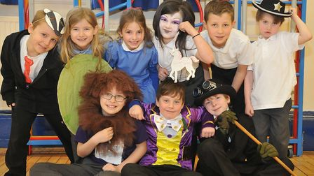 Children dressed up and hosting competition to design a Roald Dahl book cover. Picture: Jeremy Long.