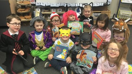Children dressed in fancy dress to celebrate World Book Day at Trinity Primary School.