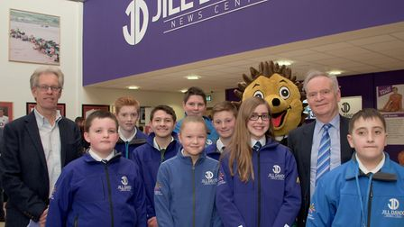 Lord Archer and Nigel Dando with students at the opening of the Jill Dando Centre at Priory Communit