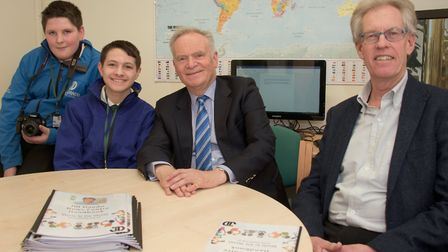 Lord Jeffrey Archer and Nigel Dando with students at the opening of the Jill Dando Centre at Priory