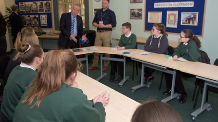 Lord Archer talking with students at the opening of the Jill Dando Centre at Priory Community School