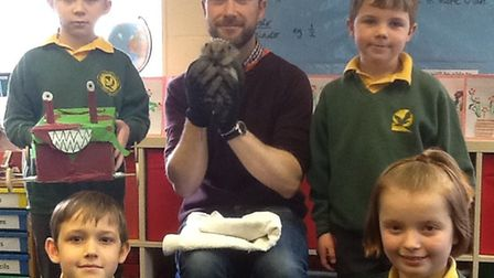 St John's Primary School pupils with Pancake the hedgehog.