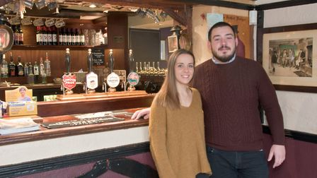 Josh Walton and Chloe Parrott who have taken over running the Queen's Arms pub in Bleadon.