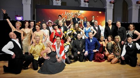 Strictly contestants with compere Martin Roberts and the judging panel.