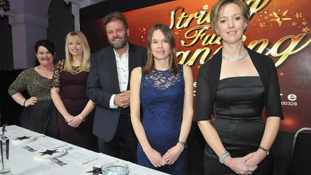 Judges Emma Britton, Chloe Helmore, Vicky Angear and Emma Sage with compere Martin Roberts.