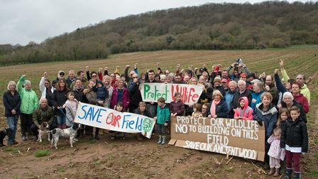 Protesters in the field adjacent to Hollis Avenue, Portishead,