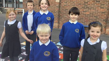 Pupils with some of the new playground markings.