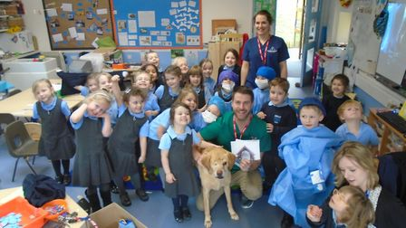 James Greenwood with St Mary's Primary School pupils in Portbury.