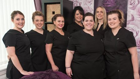 New owner Stacy Mansfield with current staff at Portishead Beauty.
