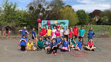 Pupils who took part in the sponsored hula hoop challenge.