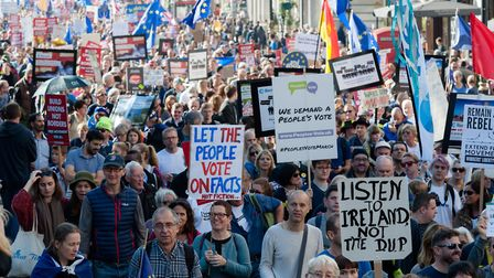 Anti-Brexit campaigners take part in the People's Vote march through central London. (Photograph by