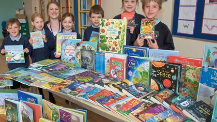 Flax Bourton Primary School pupils, with Sam Goodger from Usborne.