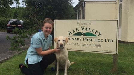 Susie and Dotty outside Axe Valley Vets in Bleadon. Picture: Axe Valley Vets