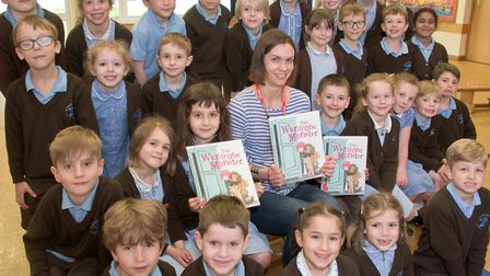 Author Bryony Thomson reading from her new book, The Wardrobe Monster, to year one and two pupils at