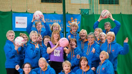 Kelli Coxhead from The Thatchers Foundation, with members of The Trailblazers Ladies Walking Netball
