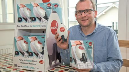 Nick Webb with his portable baby rocker Rockit.